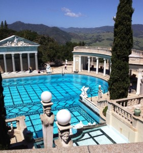 Hearst Castle pool looks down the valley to the ocean.