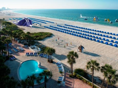 TradeWinds Island Gand Resort's new 3-story beach slide