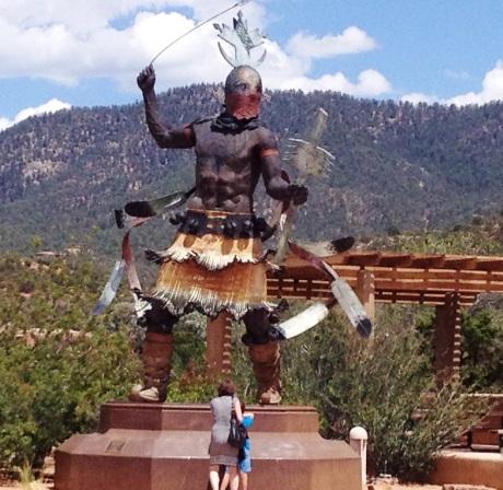 Native American statue on Museum Hill, Santa Fe, NM