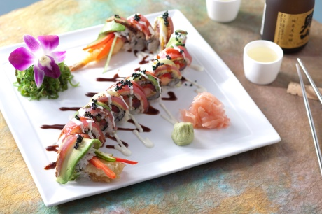 California Grill Dragon Roll with spicy and tataki tuna, shrimp tempura, bell pepper, avocado and chili-soy glaze.  California Grill in the Contemporary Hotel at Walt Disney World Resort. (Jimmy DeFlippo, photographer)