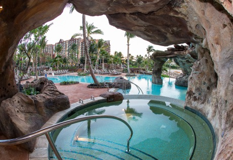 Ka Maka Landing, a popular Waikolohe Valley water play area at Aulani, a Disney Resort and Spa in Ko Olina, Hawaii
