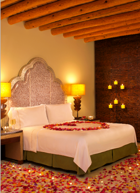 Rose petals and hearts heat up Valentine's Day romance at Capella Pedregal in Los Cabos, Mexico.