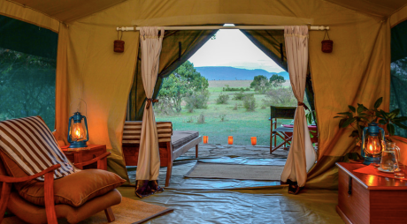 Luxury Losokwan Camp sits on the edge of the Maasai Mara game reserve in Africa
