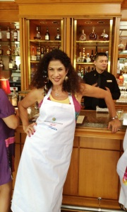 Taking a break from a Cooking class at an Orlando Marriott World Center. They presented me with the apron embroidered with my name.
