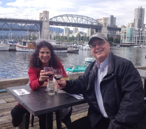 A toast to the ambiance of Bridges Restaurant on Granville Island.