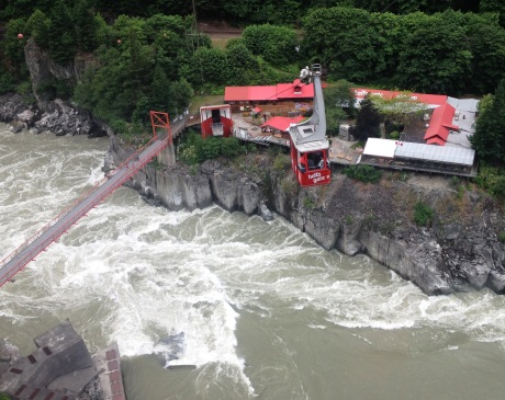 The gondola descends slowly to Hell's Gate over a rampaging river. photo by Karen Kuzsel