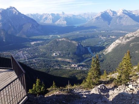 view of Bow Valley and Banff from Sulfur Mountain observation station. photo by Karen Kuzsel