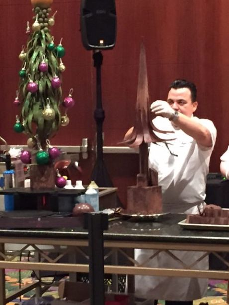 Chef demo of making a Christmas tree completely of chocolate, including the glittery balls. photo by Karen Kuzsel