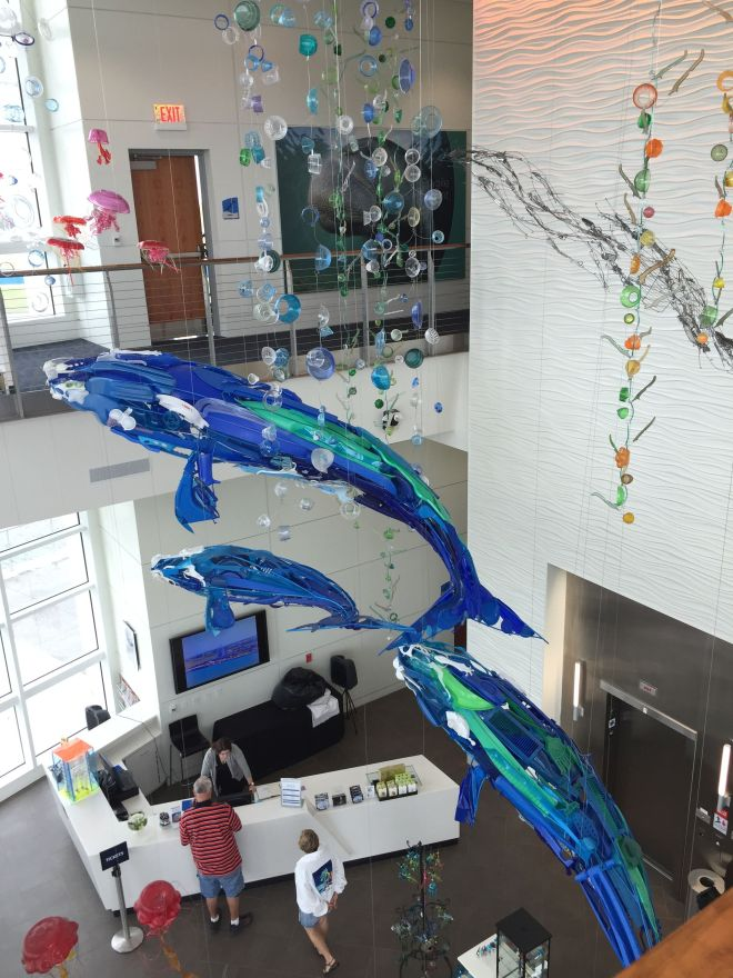 Exploration Tower's ode to the ocean hanging sculpture. photo by Karen Kuzsel