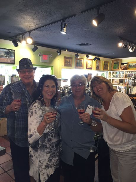 Toasting & snacking at Ancient Olive. L to R: Russ and Karen (Kuzsel) Wagner, Dom and Sandy Pizzarusso