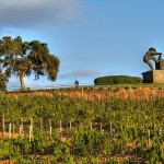Meritage vineyards & The Crusher Statue, Napa, CA