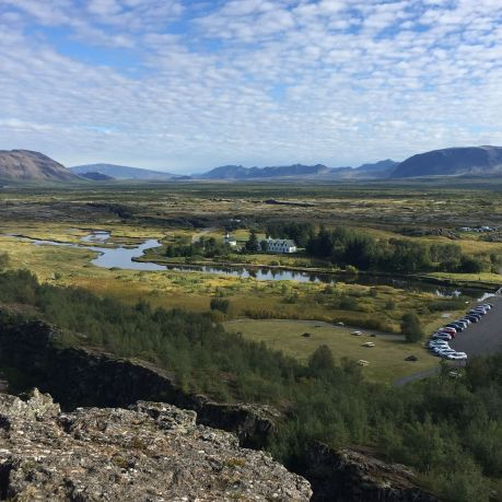 "Þingvellir, the famous ""crack in the earth"", where the continental plates have shifted and a few remote buildings, Iceland. photo by Karen"