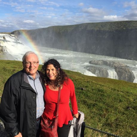 Russ and me and the rainbow at Gullfoss Falls, Iceland