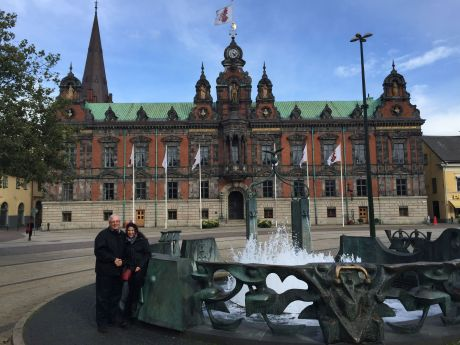 Russ and me in front of City Hall in Malmo, Sweden