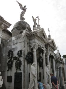 A mausoleum in Ricoleta Cemetery. They cost millions of dollars. Eva Peron's mausoleum sits nearby