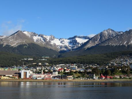 City of Ushuaia is nestled into the base of the mountains. photo by Russ Wagner