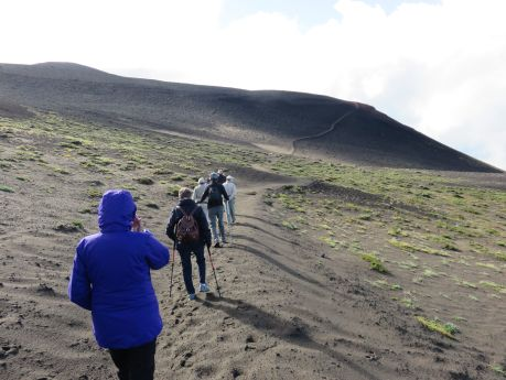 The long trek up Volcano Osorno. photo by Russ Wagner