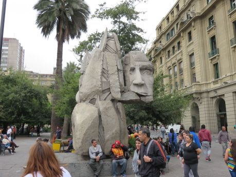 Statue in plaza in Santiago, Chile. photo by Russ Wagner