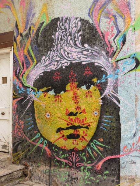 Wall art in Valparaiso, Chile. photo by Russ Wagner