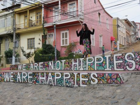 I'm a happy hippie on a Valparaiso side street. photo by Russ Wagner
