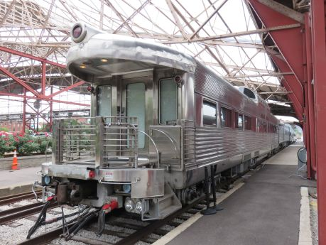 Exterior of vintage train used for VIP reception or party experience. photo by Russ Wagner