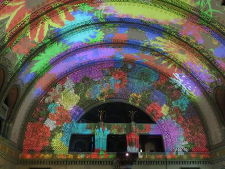 Laser light shows light up the St. Louis Union Station Hotel every evening. photo by Russ Wagner