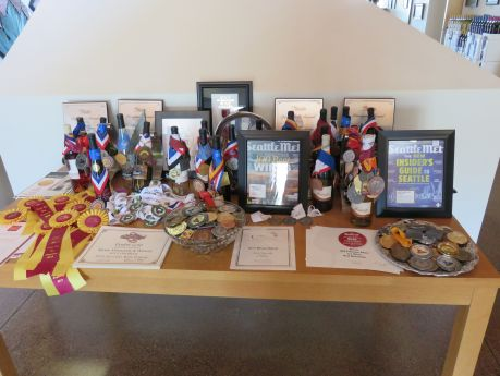 Kiona Vineyards' recent awards. photo by Russ Wagner