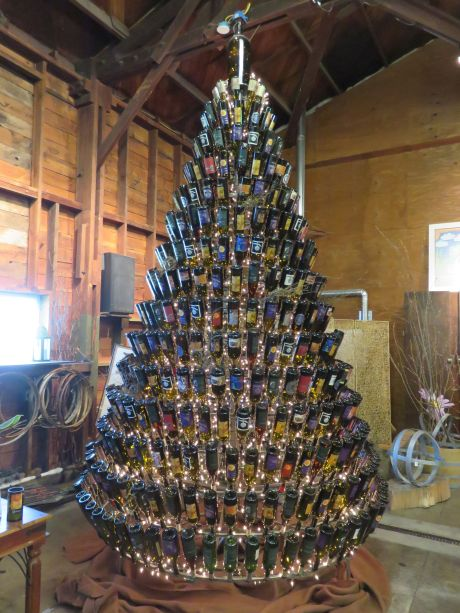 It's always a happy holiday with a Christmas tree of Dunham Cellars wine bottles