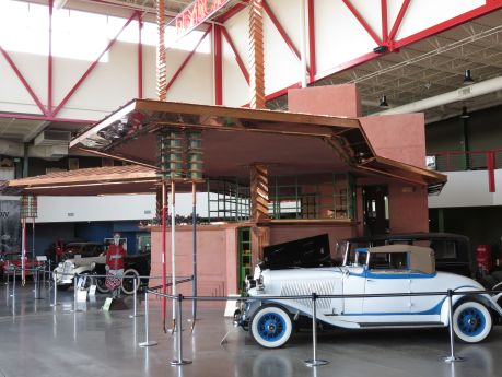 Frank Lloyd Wright- designed Filling Station inside the Pierce Arrow Museum