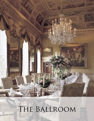 Brocket Hall Ballroom in London, set for holiday group festivities