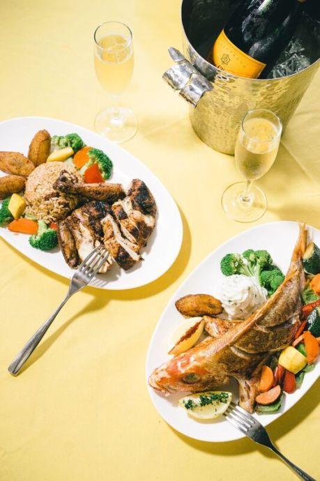 Fresh fish and jerked chicken at Scrub Island Resort in the British Virgin Islands