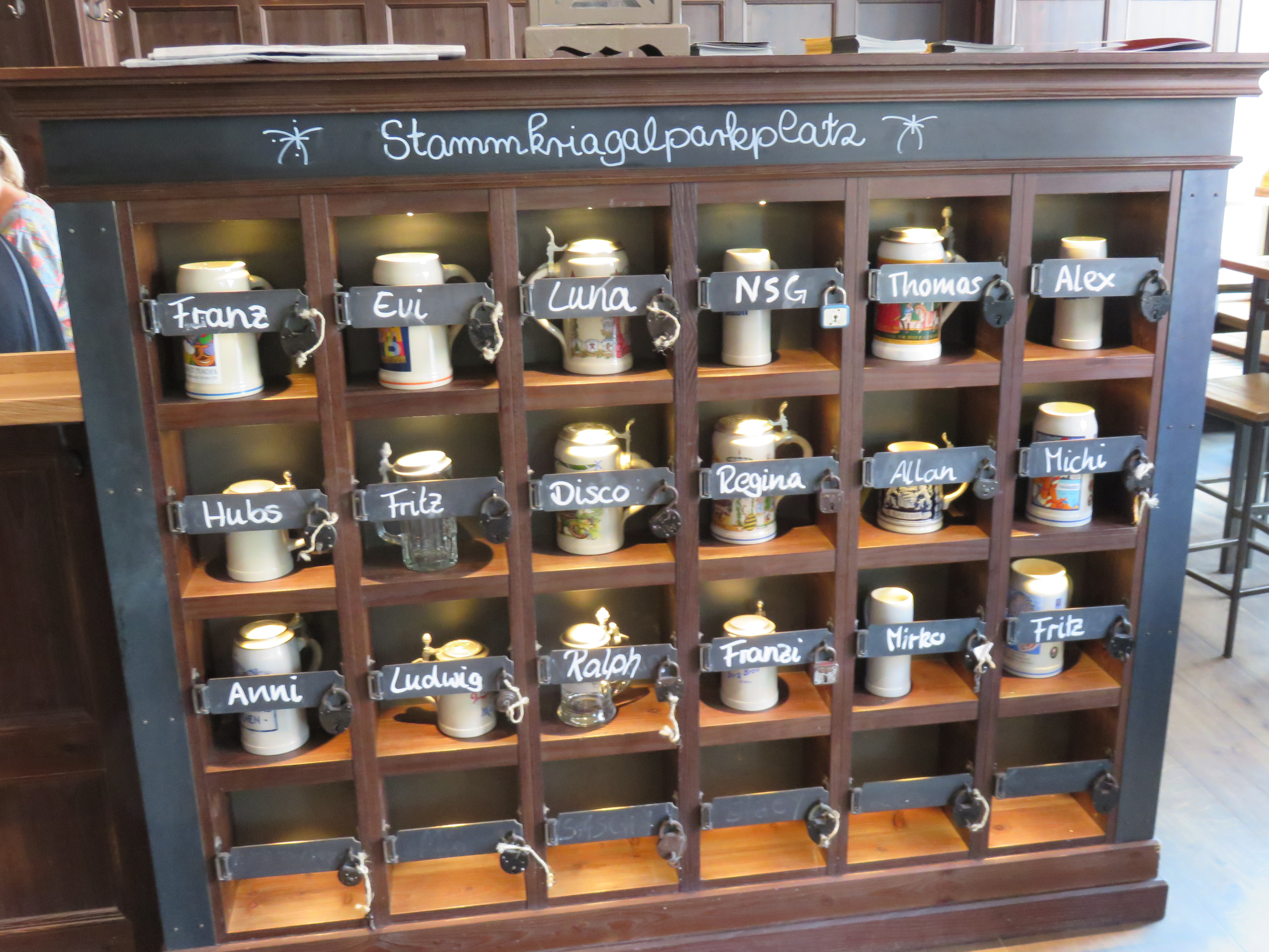 IMG_9545 Frequent patrons at restaurants store their personal beer steins..JPG